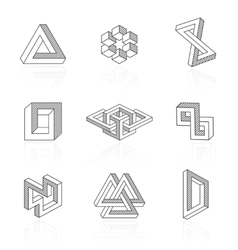 Trendy optical shapes on white vector image