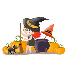 girl dressed up in witch costume vector image vector image