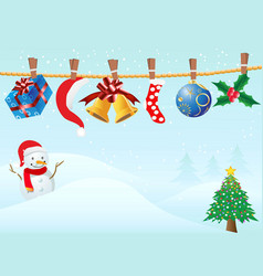 Hanging christmas gifts in snowing background vector