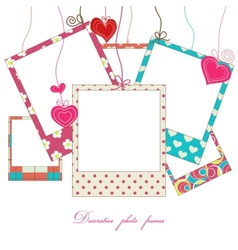 hanging cute photo frames vector image vector image