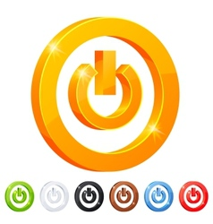 Set of 7 power button symbol vector image vector image