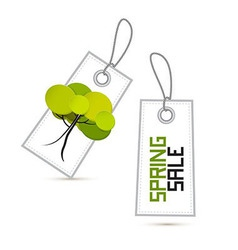 Spring Sale White Labels with Tree Isolated on vector image