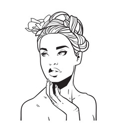 beautiful woman face hand drawn young girl with vector image