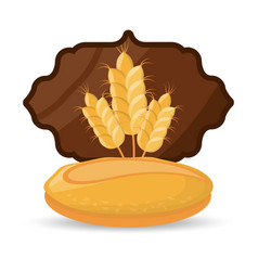 bread wheat food breakfast badge vector image vector image