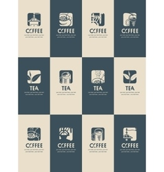 business cards on tea and coffee vector image