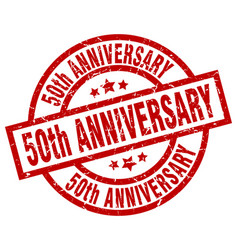 50th anniversary round red grunge stamp vector image