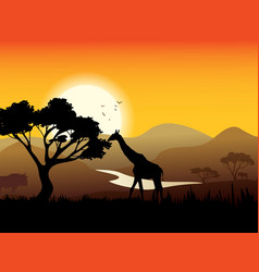 African Landscape Poster vector image