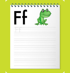 Alphabet tracing worksheet with letter f and f vector