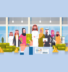 Arab business people group leader giving salary in vector