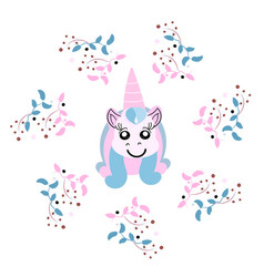 Beautiful unicorn head with floral frame magic vector