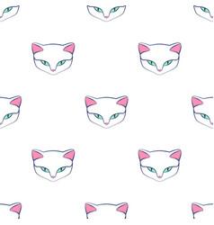 cat kitty cute animal seamless pattern vector image