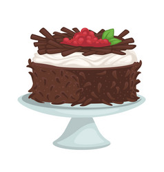 Chocolate cake with raspberries and cream vector