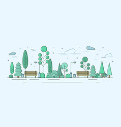 City park or garden with trees bushes and street vector