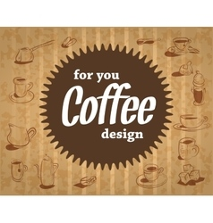 coffee logo on the cardboard background in vintage vector image