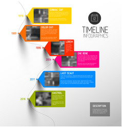 Colorful vertical timeline infographic vector