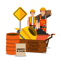 construction workers wooden barrel sack concrete vector image