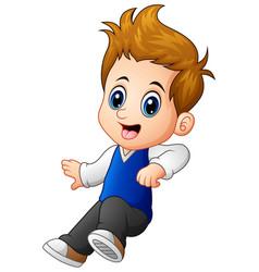Cute little boy jumping vector