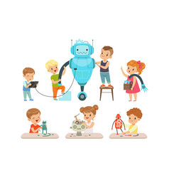 cute little kids programming and creating smart vector image
