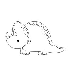 Cute triceratops character icon vector