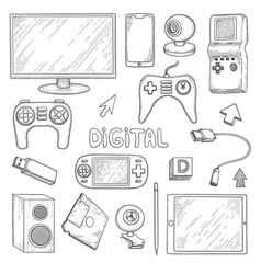 digital gadgets computer pc laptop notebook vector image