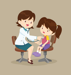 doctor is seeing a small girl vector image