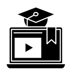 e-learning solid icon home education vector image