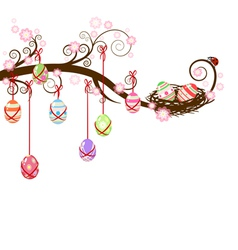 Easter eggs hanging on a branch vector image