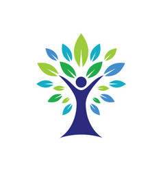 eco tree people logo image vector image