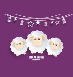 eid al adha mubarak celebration card with sheep vector image