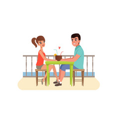 family couple sitting at the cafe near the beach vector image