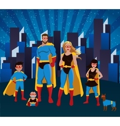 Family Of Superheroes Together Poster vector