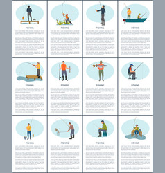 fishing man from platform boat and from bank vector image