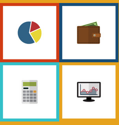 flat icon incoming set of chart calculate vector image