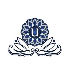 flower elegant icon initial u vector image