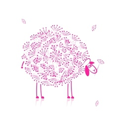 Funny pink sheep sketch for your design vector
