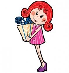 girl and gift vector image