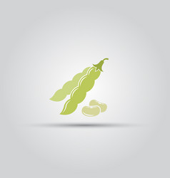 Green beans pod isolated colored icon vector