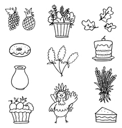 Hand draw collection thanksgiving on doodles vector