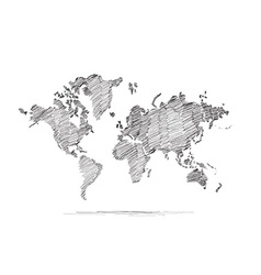 Hand drawn map of the world vector