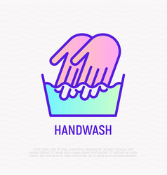 handwash symbol two hands in wash bowl vector image