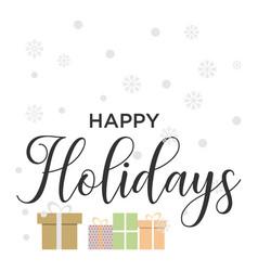 happy holidays card flat design vector image