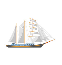 Huge sailboat with shiny fairy canvas and spacious vector