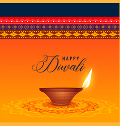 indian diwali festival with diya and ethnic vector image
