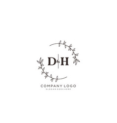 Initial dh letters beautiful floral feminine vector