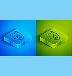 isometric line bear head icon isolated on blue and vector image