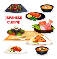 Japanese restaurant lunch dishes of asian cuisine vector