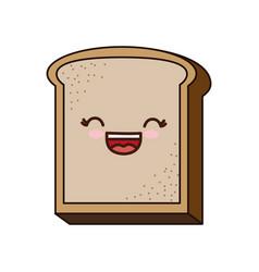 Kawaii bread icon vector