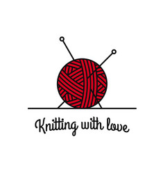 knitting logo with knitting ball and needles vector image