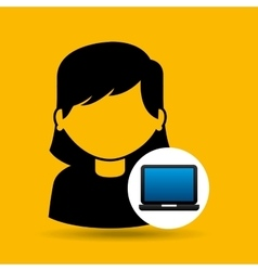 Laptop icon character girl social media vector