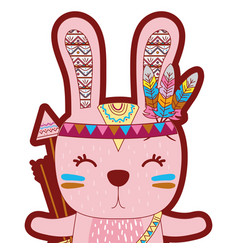 Line color cute rabbit animal with arrows and vector